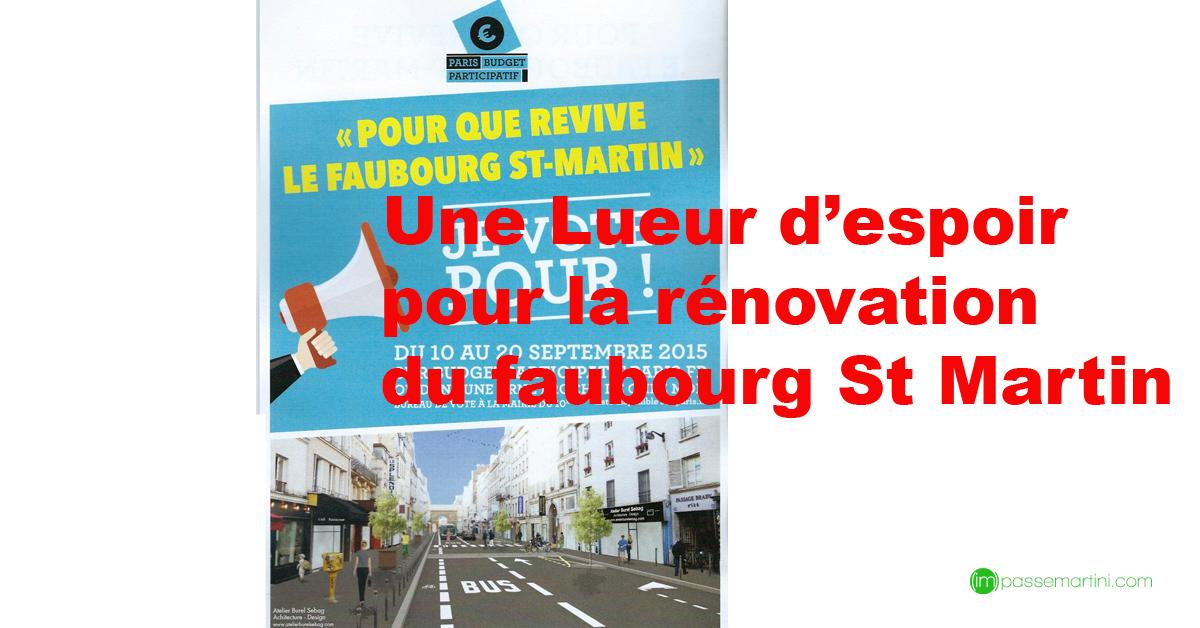 Une lueur d'espoir pour la rénovation du Fbg St Martin