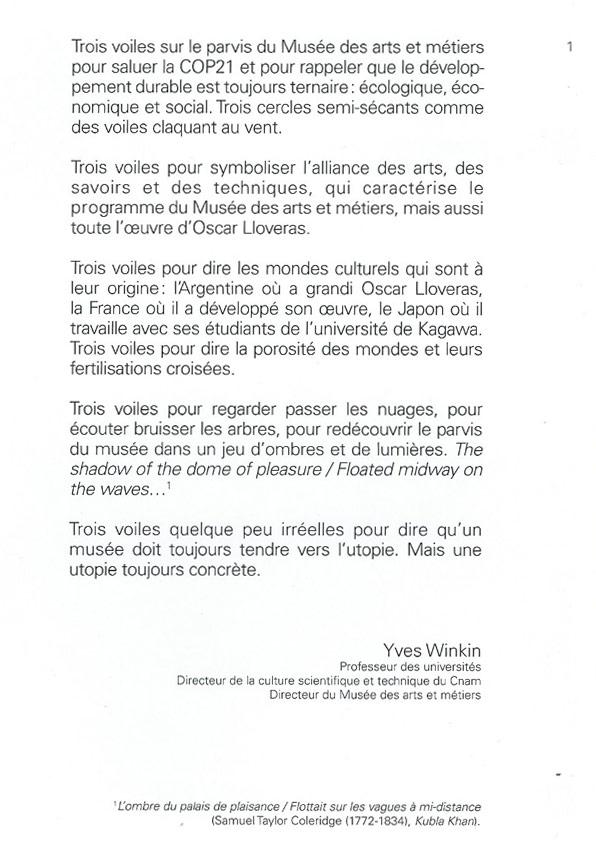 Préface d' Yves Winkin, catalogue musée des arts et métiers :