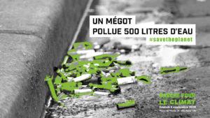 Un mégot pollue 500 litres d'eau #savetheplanet
