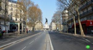 statue de la place de la République coronavirus